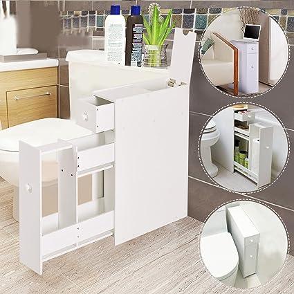 Amazon.com : Bathroom Floor Cabinet Bath Towel Storage Shelf ...