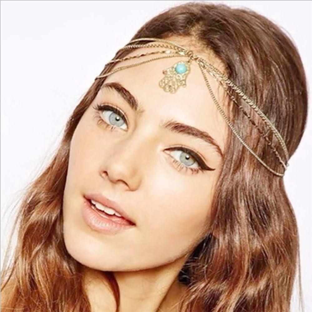 Cadena para la cabeza Yean, accesorio para la cabeza estilo bohemio, para mujeres y niñas