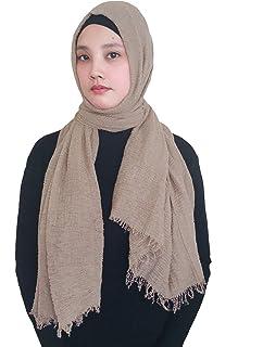 e0505e37cc72 Lina   Lily Hijab pour Femmes Foulard Écharpe Turban Châle Islamique,  Froissée Coton