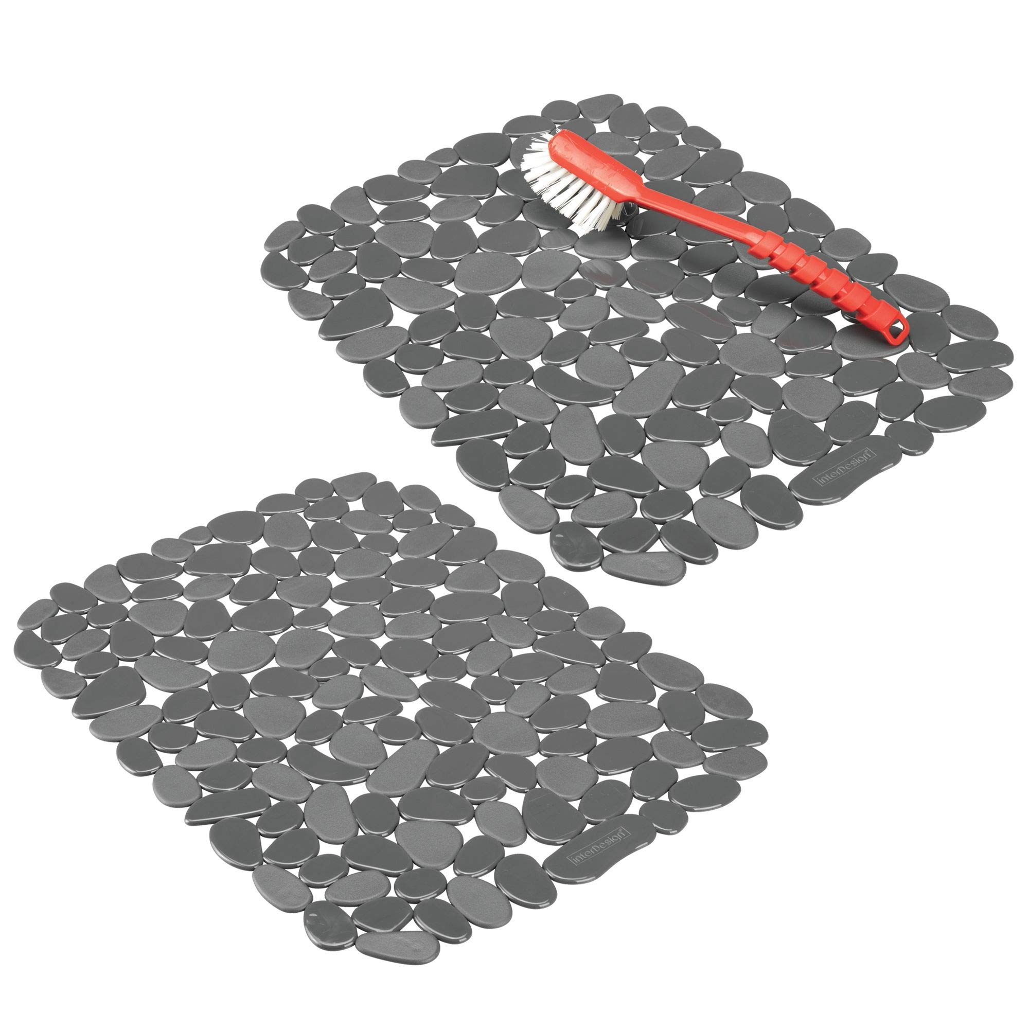mDesign Decorative Kitchen Sink Protector Mat Pad Set, Quick Draining - Use In Sinks to Protect Surfaces and Dishes - Modern Pebble Design - Includes 2 Customizable Sink Mats - 2 Pack, Charcoal Gray