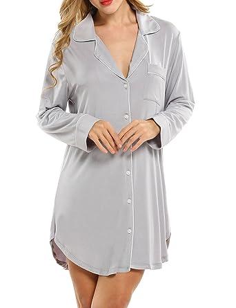Damen Viktorianisch Stil Nachthemd Kleid Negligee Langarm Lange Schlafanzüge Luxus Nachtwäsche