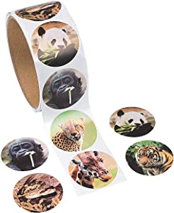 Fun Express - Zoo Animal Stickers - Stationery - Stickers - Stickers - Roll - 2 Piece
