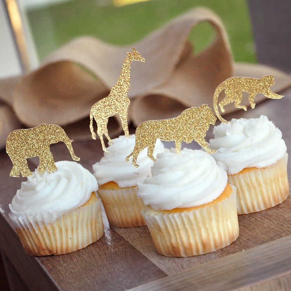 Bozoa (30 pcs) Gold Glitter Jungle Safari Animal Cupcake Toppers Picks Jungle Animals Cake Decorations for Jungle safari Animals Party Baby Showers Birthday Party by Bozoa (Image #3)