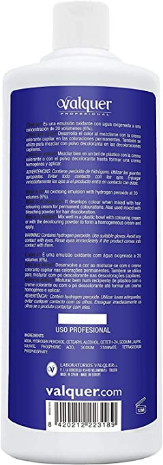 Valquer Profesional Oxigenada 20 Vol (6%). Agua oxigenada para tintes. Coloración capilar permanente - 12 unidades x 1 litro