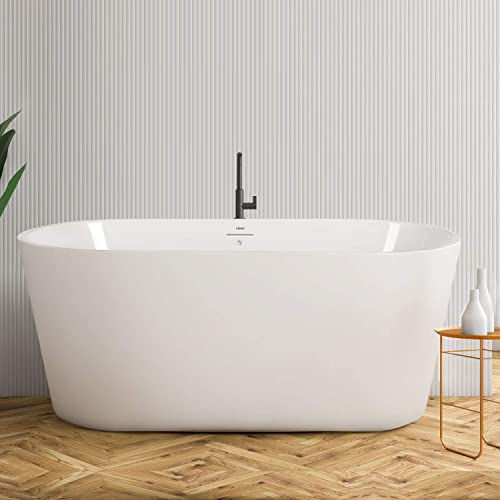 FerdY Acrylic Freestanding Bathtub, Small Gracefully Shaped Freestanding Soaking Bathtub, Glossy White, cUPC Certified, Drain Overflow Assembly Included F-02522-55 w Brushed Nickel Drain