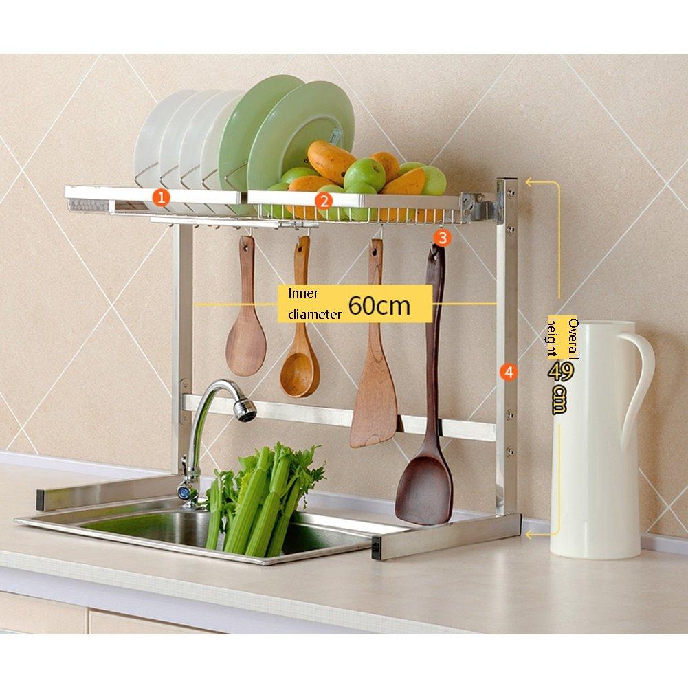 LXLAダブルレイヤーキッチンシェルフフック付きシンクドレインラックシングルレイヤー用品ディッシュチョッピングボード野菜フルーツ収納ラック304ステンレス63/83×49 / 80cm ( 色 : Style 3 ) B07C2MD63H Style 3 Style 3