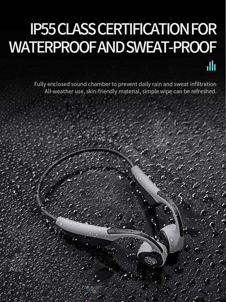 Cocomii Bluetooth 5.0 Wireless Earbuds Titanium Bone Conduction Headphones Open-Ear Built-in Mic Headset Premium Sound Deep Bass Lightweight Earphones for iPhone Android Workout Sport BV9.Black