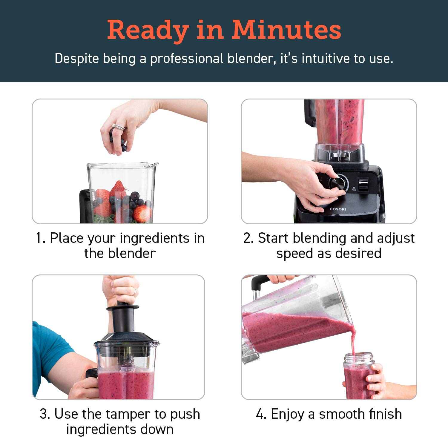COSORI Blender for Shakes and Smoothies(50 Recipes),1400W Heavy Duty Professional Blender for Crushing Ice, Frozen Fruit with 64oz Pitcher&20oz Travel Bottle,2-Year Warranty,ETL Listed/FDA Compliant by COSORI (Image #4)