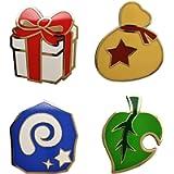 4 Pcs Animal Crossing Essential Items Enamel Pins Set: Leaf, Fossil, Bell Bag, Gift Box