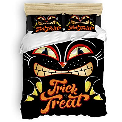 Crystal Emotion Home Comforter Bedding Sets 4Pieces Duvet Cover Sets Halloween Themed Cat Trick Treat Bedspread Bed Sheets 1 Duvet Cover 1 Bed Sheet 2 Pillow Cases King for Childrens Kids Adults: Home & Kitchen