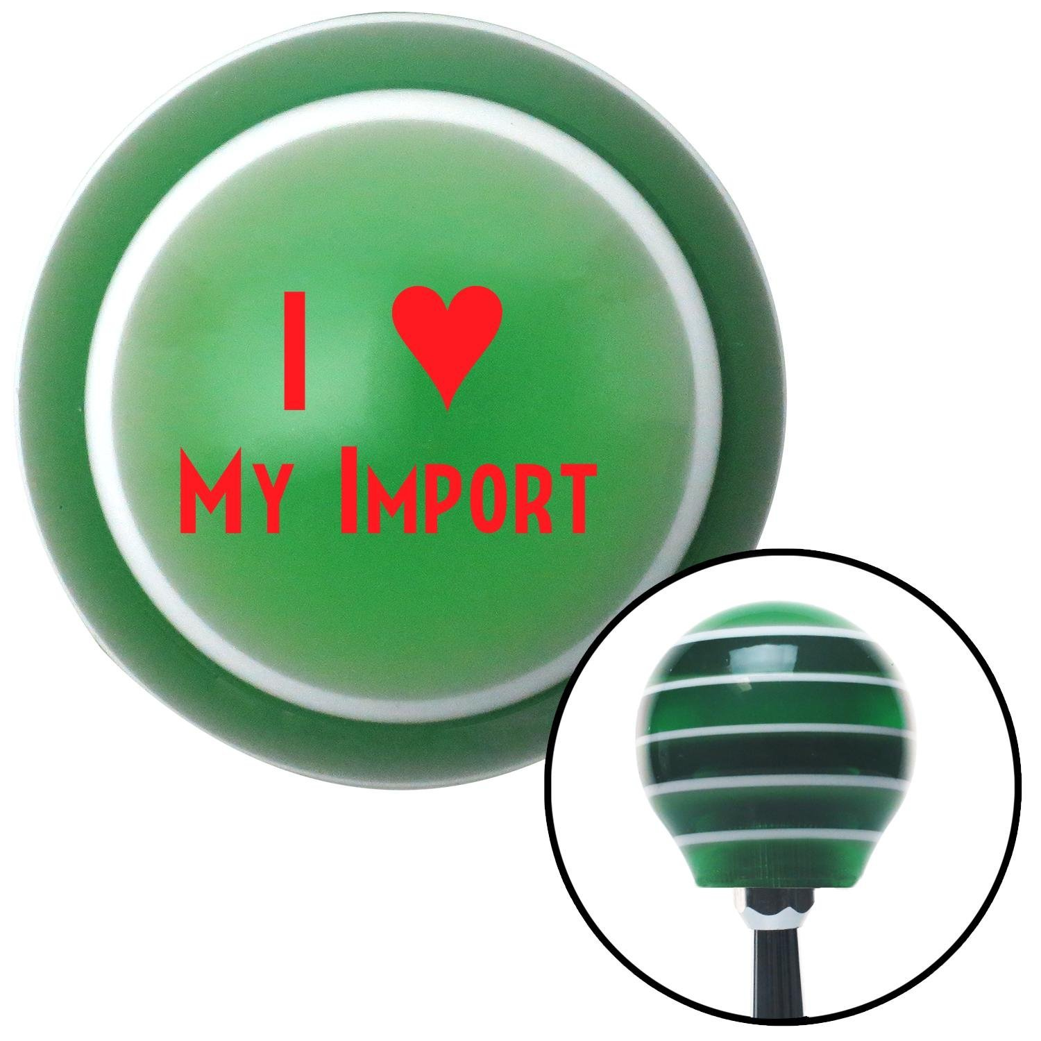 Red I 3 My Import American Shifter 123708 Green Stripe Shift Knob with M16 x 1.5 Insert