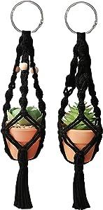 Rear View Mirror Accessories, Cute Car Décor Mini Macrame Plant Hangers Car Charm (Black)