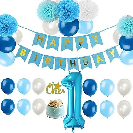 Amazon First 1st Birthday Boy Decorations Kit
