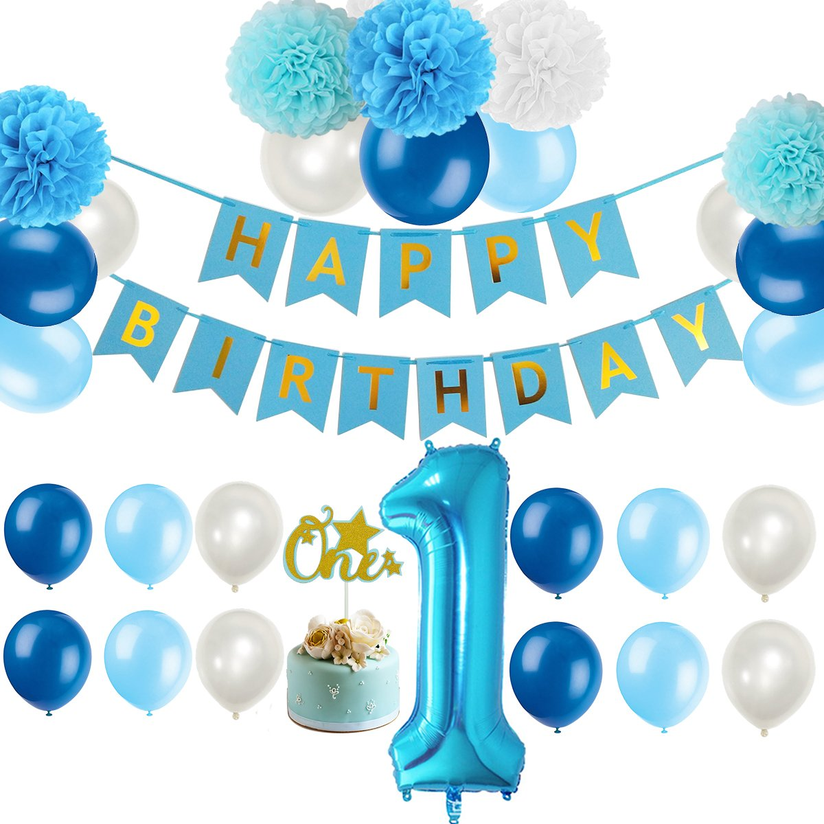 First 1st Birthday Boy Decorations Kit