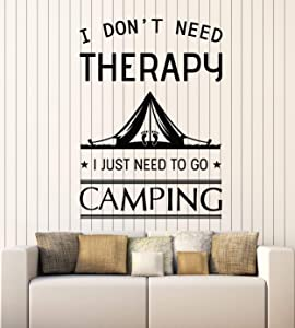 Vinyl Wall Decal Camping Quote Nature Tourism for Traveler Tent Stickers Mural Large Decor (g2817) Black
