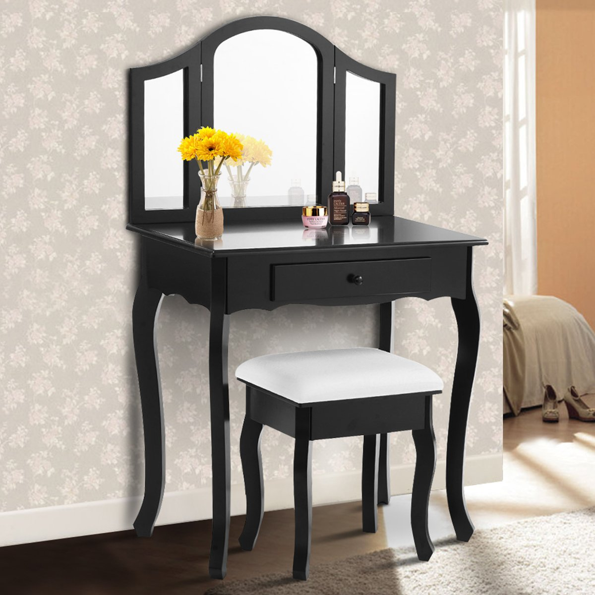 Giantex Bathroom Vanity Makeup Table Set w/ Tri-folding Mirror & Cushioned Stool Dressing Table (Black