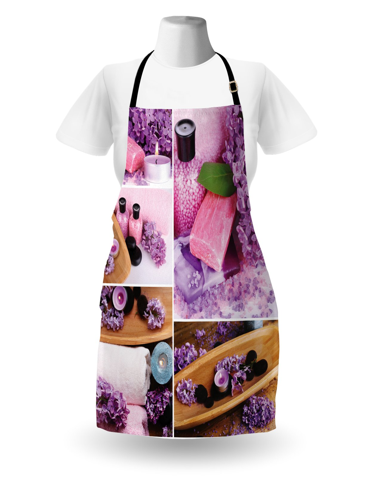 Lunarable Spa Apron, Aromatic Spa with Lilac Petals Fresh Therapy Oils Bath Salt Soap Relax Meditation Collage, Unisex Kitchen Bib Apron with Adjustable Neck for Cooking Baking Gardening, Violet by Lunarable (Image #2)