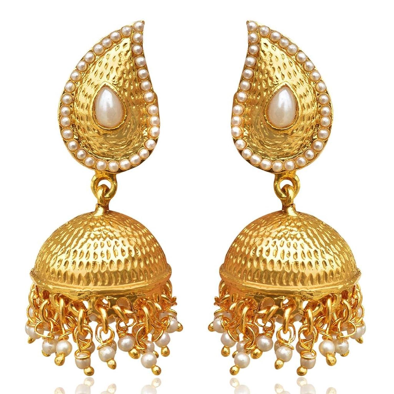 Amazon.com: Tear Drop Mango Jhumka Jhumki South Indian Gold Tone ...