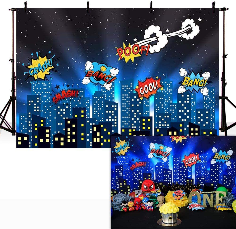 COMOPHOTO 9x6ft Superhero City Backdrop for Kid Birthday Party Supplies Cityscape Photography Background Event Banner Superhero Backdrops Decorations