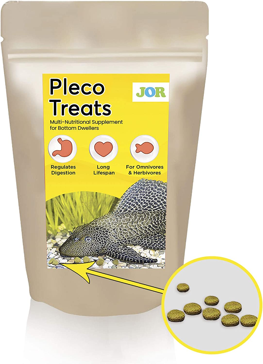 JOR Pleco Treats, Disc-shaped Supplement for Bottom Feeders, Strengthens Overall Development, Supports Better Digestion, Snail Food for Shell Development and Repair, 2.8 oz. per Pack