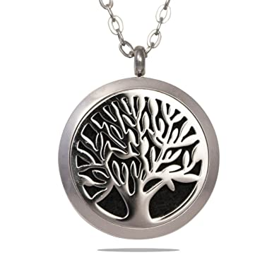 Essential oil diffuser necklace tree of life stainless steel essential oil diffuser necklace tree of life stainless steel aromatherapy pendant locket aloadofball Image collections