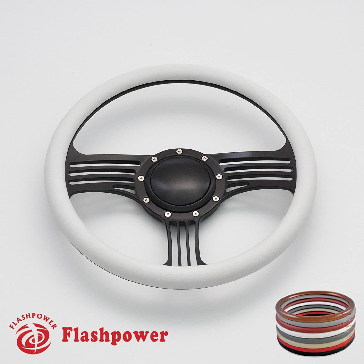 Flashpower 14 Billet Half Wrap 9 Bolts Steering Wheel with 2 Dish and Horn Button Black