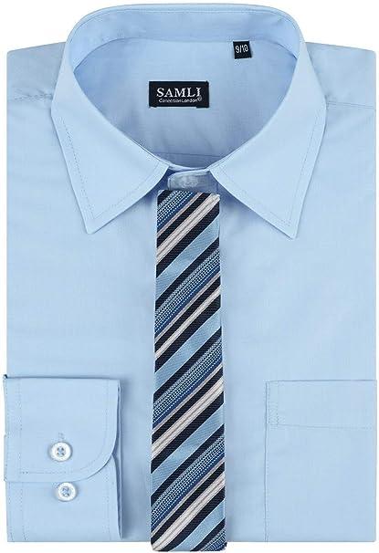 Samli - Camisa Formal para Hombre con Corbata y Gemelos (Tallas S ...