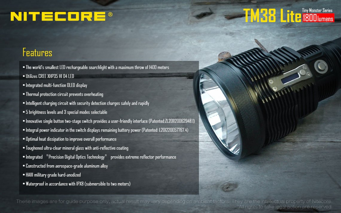 Nitecore TM38 Lite CREE XHP35 HI D4 Long Throw LED Flashlight w/FREE Nitecore NU05 Kit by Nitecore (Image #4)