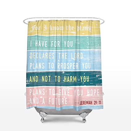 Crystal Emotion Cute Bible Verse Shower Curtain Jeremiah 2911 For I Know The