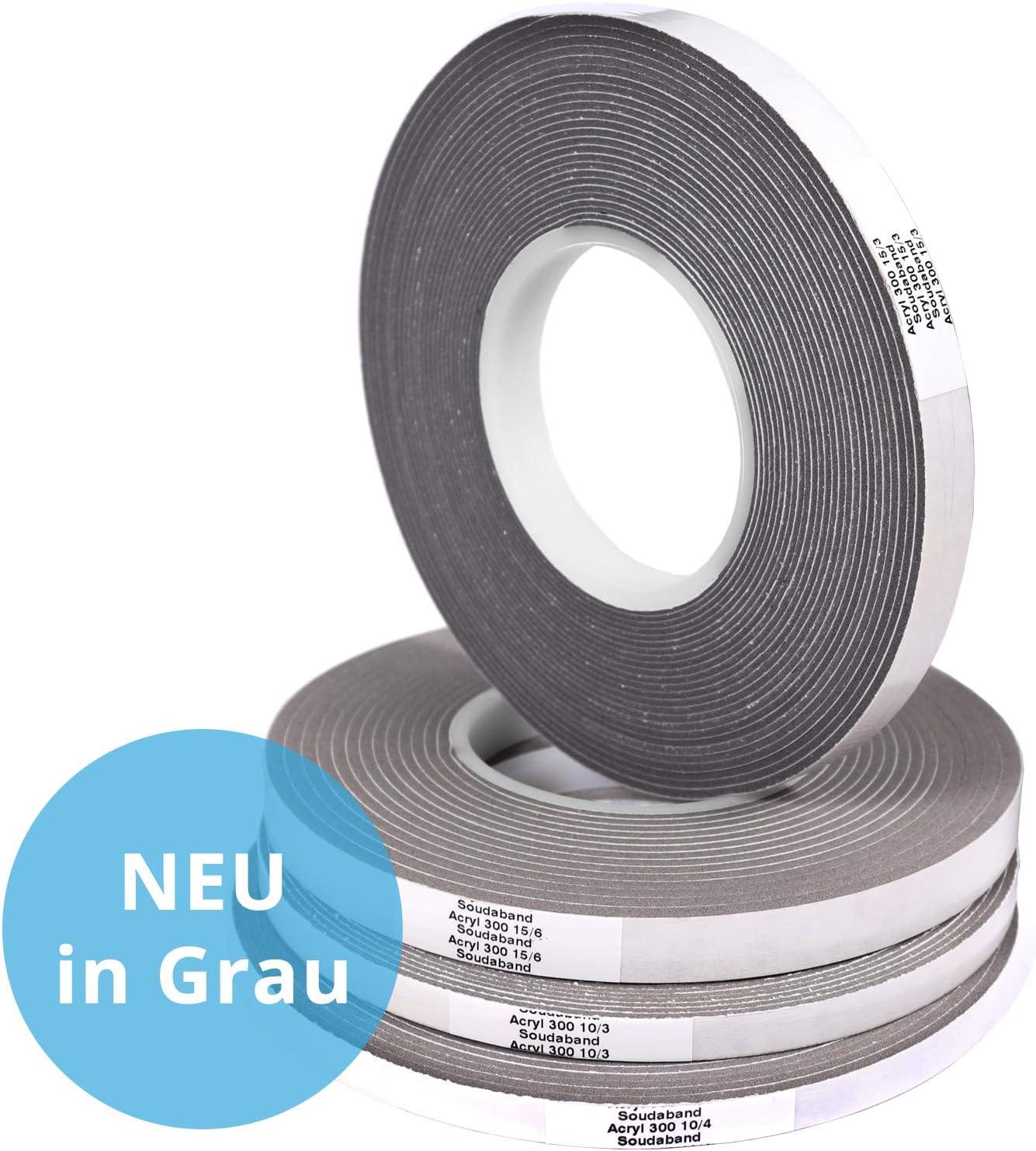 3 Rollen 15//3 Quellband Kompriband Fugendichtband Dichtband grau a´10,0 m
