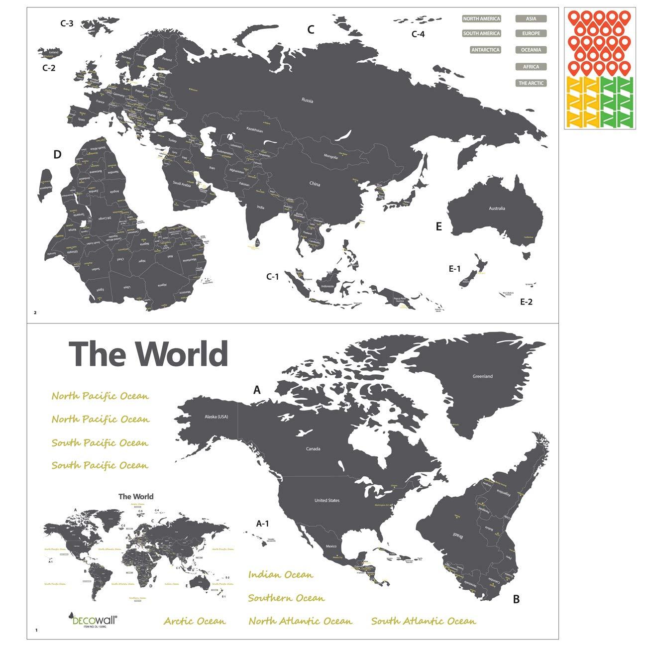 Gro/ß Englisch Ver. DECOWALL DL-1509G Moderne Graue Weltkarte Wandtattoo Wandsticker Wandaufkleber Wanddeko f/ür Wohnzimmer Schlafzimmer Kinderzimmer