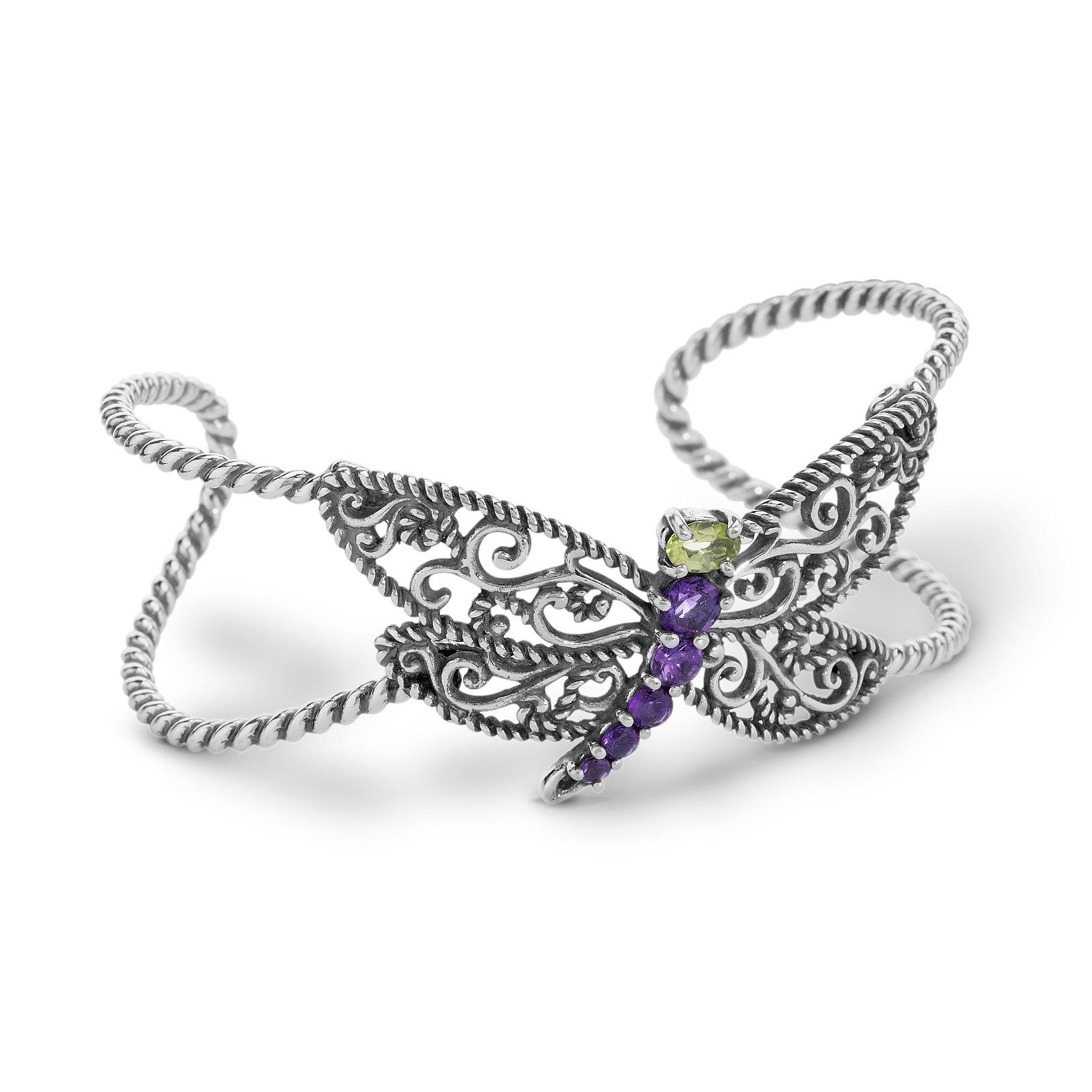 Carolyn Pollack Genuine .925 Sterling Silver Purple Amethyst Green Peridot Dragonfly Cuff Bracelet