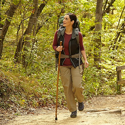 Hiking Walking Trekking Stick - Handcrafted Wooden Walking & Hiking Stick - Made in the USA by Brazos - Free Form Hickory - 55 inches