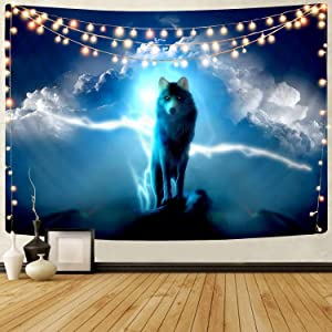 Lone Wolf Tapestry, KYKU Blue Lightning Tapestry Wall Hanging Psychedelic Wildlife Animal Decor Sky Cloud Tapestries for Bedroom Living Room Dorm College Dorm Cool (51.2
