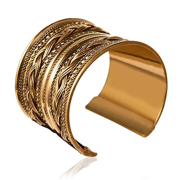 81stgeneration Women's Brass Gold Tone Rope Adjustable Bangle Cuff Bracelet hqEd3f