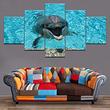 mmwin 5 Paneles Animal Lovely Dolphin Poster Modular Pictures HD Impreso Canvas Painting Decor Trabajo para Living Room Wall Art: Amazon.es: Hogar