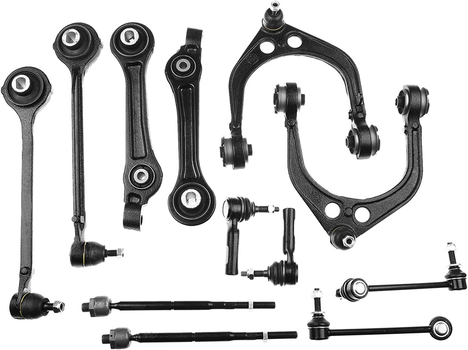 12Pc Front Suspension Kit Upper Lower Control Arm Sway Bar Inner ...