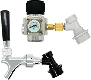 Keg Faucet CO2 Keg Charger - LUCKEG Brand Beer Keg Tap with Ball Lock Liquid Disconnect, Keg CO2 Regulator with Ball Lock Gas Disconnect for Homebrewing