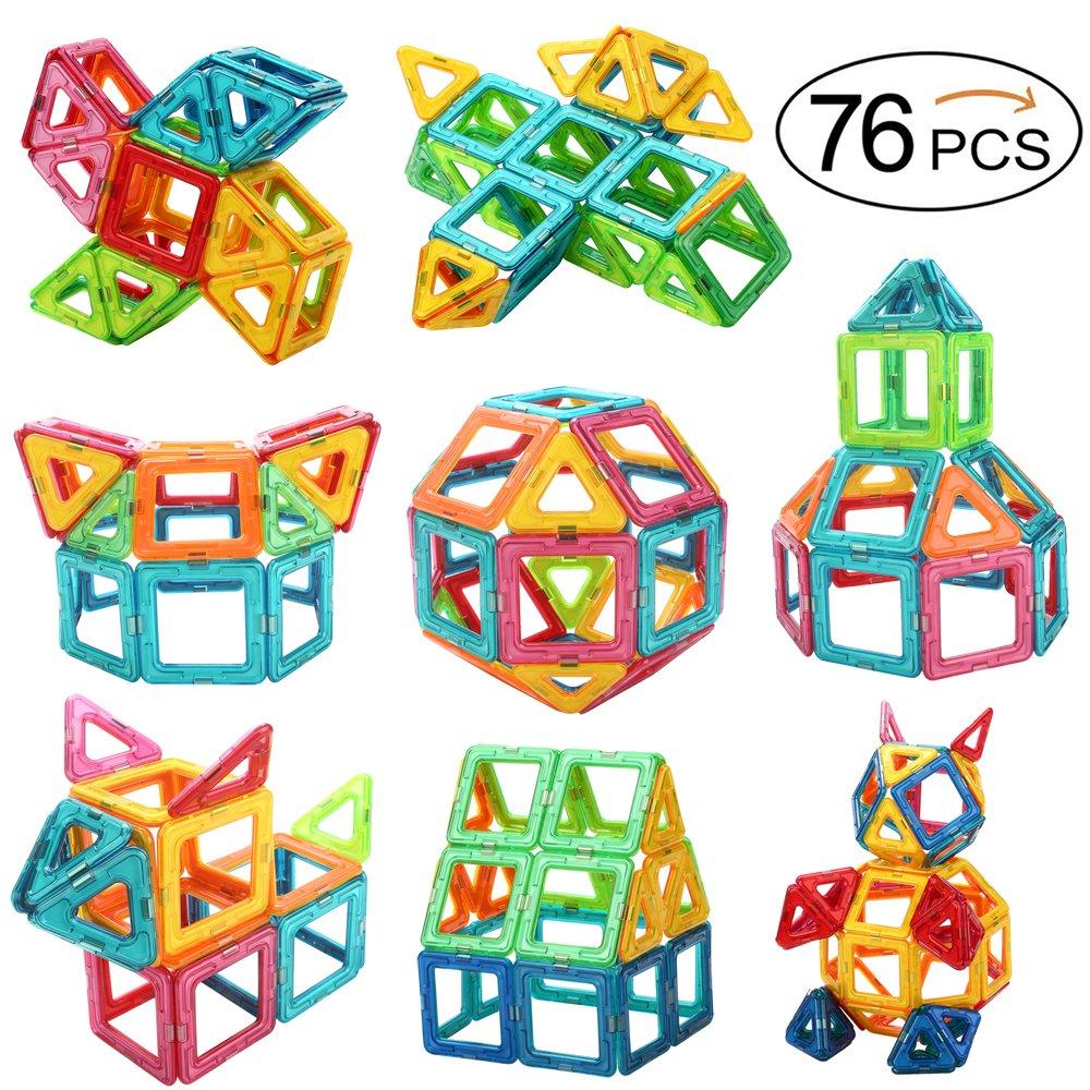 OkidSTEM 76 Piece Magnetic Building Blocks for Kids, Magnet Tiles Educational Toys for Boys and Girls