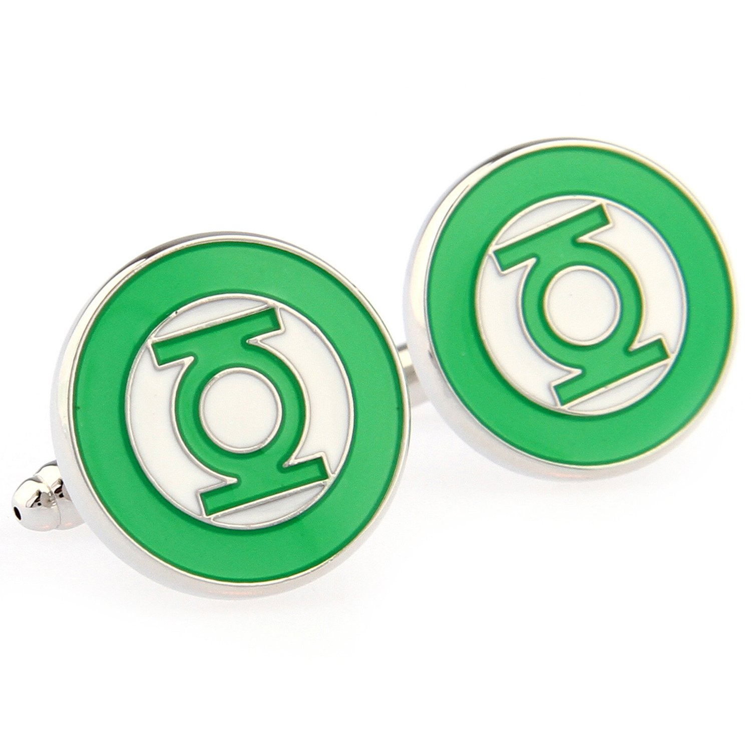 Ann Market Men Green Lanter Logo Enamel Cufflinks Green