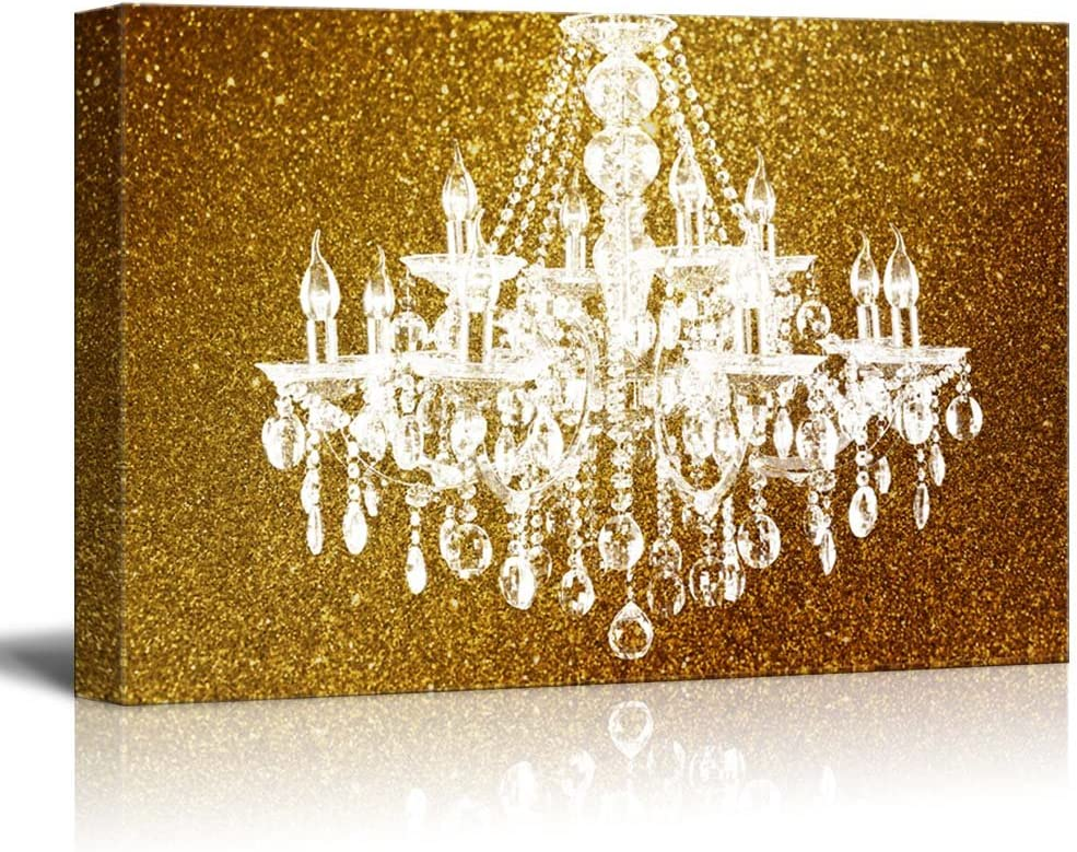 That You Will Love, Alluring Piece of Art, Wll Art Crystal Chandelier on Glittering Golden Background and Stretched