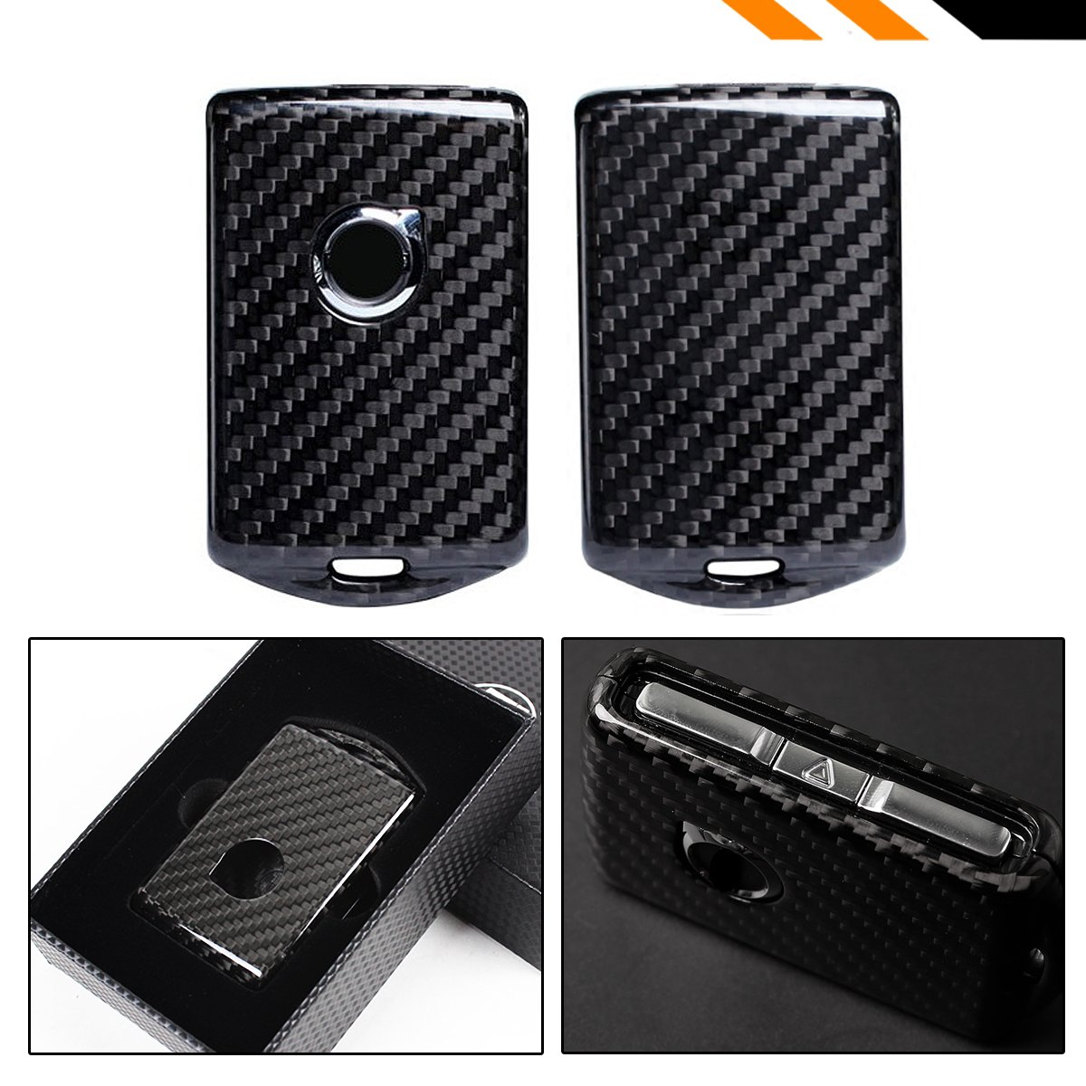 Cuztom Tuning Snap on Real Carbon Fiber Protective Case for 2017-19 Volvo XC40 XC60 XC90 S90 V90 Remote Key Fob
