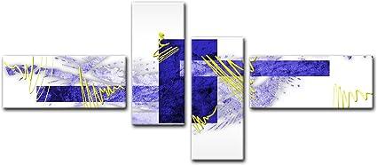 Bilderdepot24 Cuadros en Lienzo - Arte Abstracto Abstracto V Azul - 140x65cm 4 Partes - Listo tensa. Made in Germany!!!: Amazon.es: Hogar