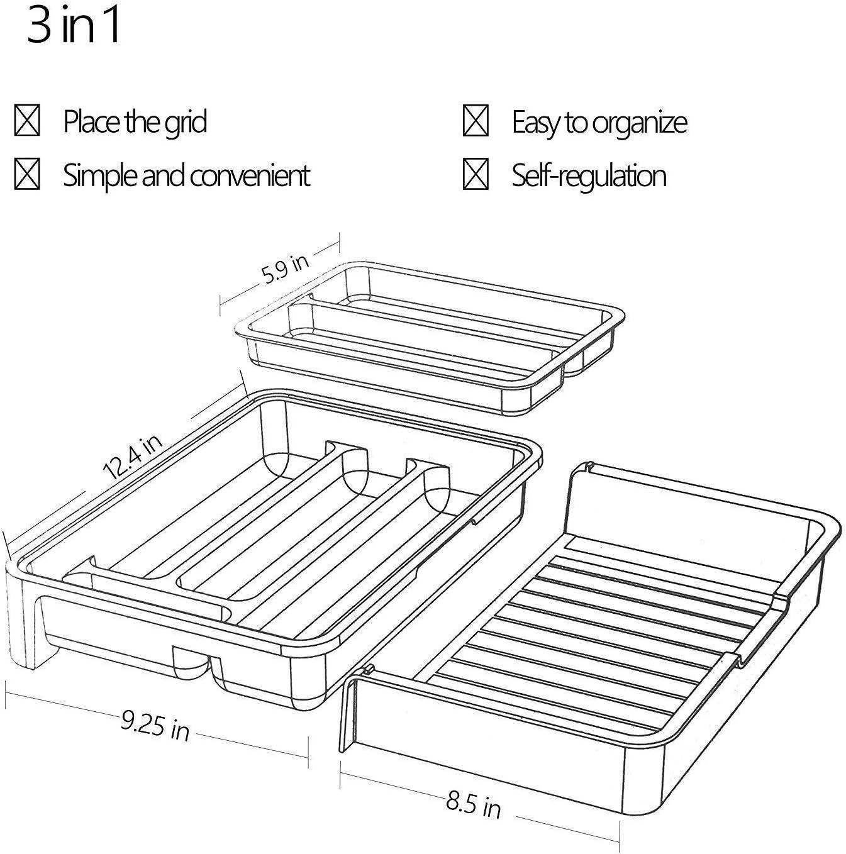 Azul HornTide 3-en-1 Bandeja para cajones Organizador de almacenamiento de utensilios extensible Soporte para vajilla de pl/ástico para cubiertos y m/ás