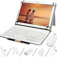 GOODTEL Tablet 10 Pulgadas Tablet Quad-Core, 4GB de RAM, 64GB de Memoria Interna, Escalable 128GB, Dual SIM Teclado Inalámbrico y Ratón, Dual Cámara Bluetooth WiFi GPS, Type-C Tablet Oro