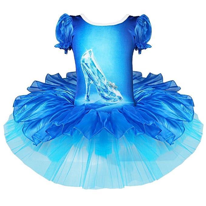 YiZYiF S-XXL Vestido De Ballet Azul Zapatos del Cristal Estampado para Niña 2-