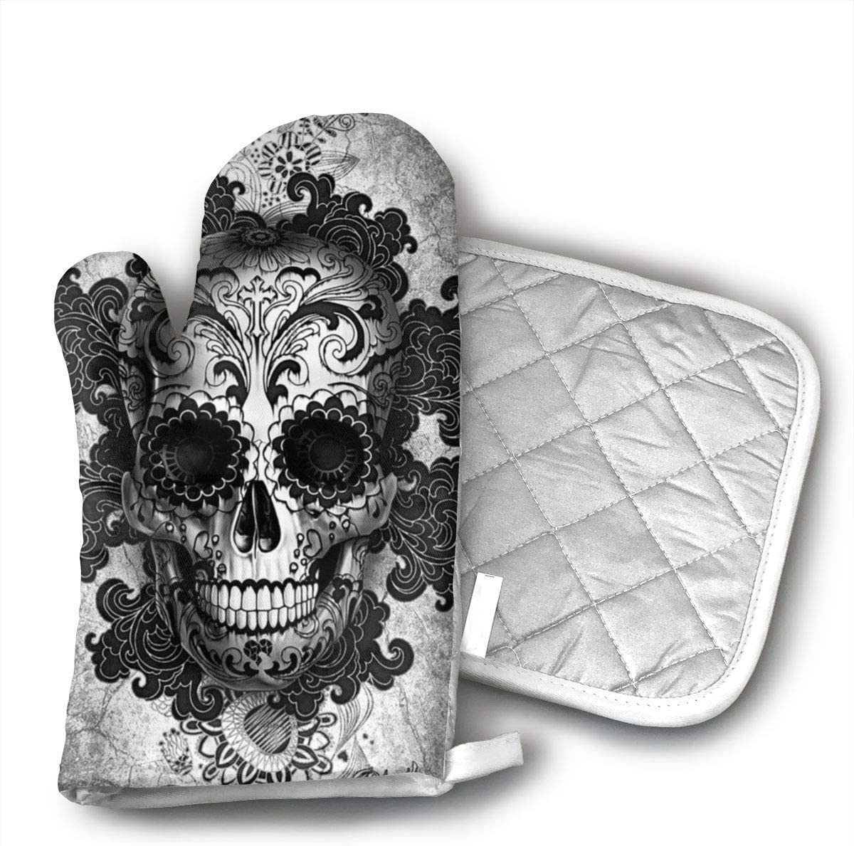 TMVFPYR Sugar Skull Black Oven Mitts, Non-Slip Silicone Oven Mitts, Extra Long Kitchen Mitts, Heat Resistant to 500Fahrenheit Degrees Kitchen Oven Gloves