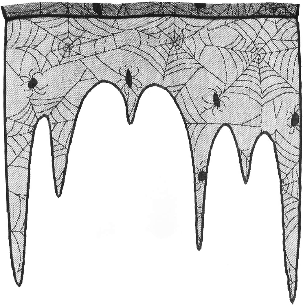 Halloween Spiderweb Curtains Lace Window Curtain Door Panel Halloween Home Party Decoration (Black)
