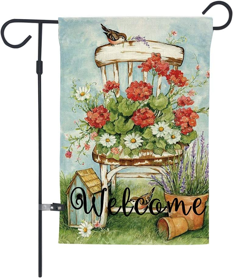 GOAUS Welcome Floral Birdhouse Flower Summer Garden Flag ,Double Sided Burlap Decorative House Flags for Home Lawn Yard Indoor Outdoor Decor,12 x 18 Inch