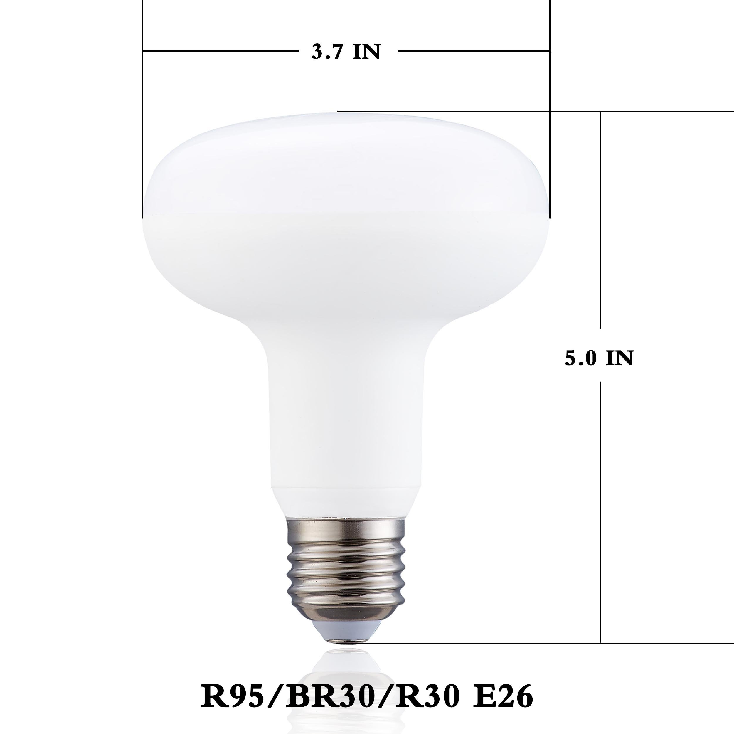 LED BR30 Flood Light Bulbs 100Watt Halogen Equivalent, Dimmable, E26 Medium Base Edison Bulb 4000K Natural White 120 Degree LED for Indoor Outdoor,BR30 12W LED Lamps For Recessed Lighting(Pack of 12)